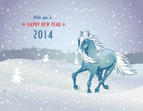 Winter landscape with snow horse new year 2014 Stock Image