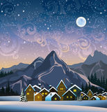 Winter landscape with snow houses and mountains Stock Photos