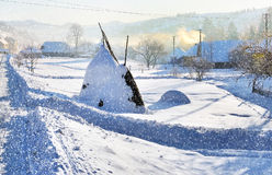 Winter landscape with snow in mountains. Beautifull snowfall. Carpathians, Ukraine Royalty Free Stock Images