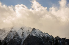 Winter landscape. With snow, mountains and blue sky stock photography