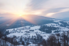 Winter landscape with snow in mountains Stock Photo
