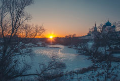 Winter landscape in snow nature Royalty Free Stock Photo