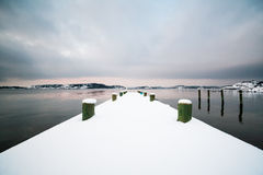 Winter Landscape, Snow on Pier by the Ocean Royalty Free Stock Photos