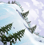 Winter landscape. Snow slide with fir trees. Stock Photos