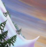Winter landscape. Snow slide with fir trees. Royalty Free Stock Photos