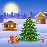 Winter landscape with snow wooden houses and christmas tree Stock Photo