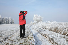 Winter landscape and snow wrapped trees in Sumava, Czech republic, Stock Image