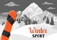 Winter landscape with snowboard. Snowy mountains and fir forest.  Royalty Free Stock Photography