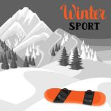 Winter landscape with snowboard. Snowy mountains and fir forest.  Royalty Free Stock Photo