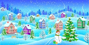 Winter landscape with snowcovered houses snowman Christmas tree. Best winter landscape with snowcovered houses snowman Christmas tree gifts Stock Image