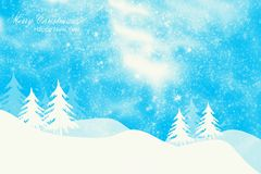 Winter landscape, snowfall and spruce trees. Winter holiday background, snowfall, spruce trees and text Stock Photos