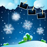 Winter landscape with snowflakes and photo frames. Vector illustration eps10 royalty free illustration