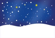 Winter landscape with snowflakes and stars on a deep blue sky - illustration with copy space. Winter landscape with snowflakes and stars on a deep blue sky vector illustration