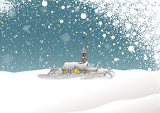 Winter Landscape and Snowing Royalty Free Stock Image