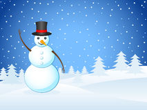 Winter landscape and snowman Royalty Free Stock Photo