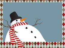 Winter landscape with a snowman Royalty Free Stock Photography