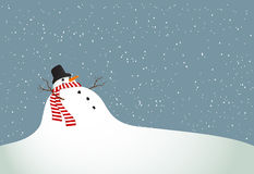 Winter landscape with a snowman Stock Photo