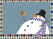Winter landscape with a snowman Stock Photography