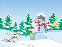 Winter landscape. Snowman with a bucket on his head. The nose-carrot. Mittens on his hands. Beautiful landscape. Winter. Holidays. Christmas. And New Year Stock Image