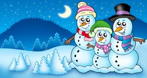 Winter landscape with snowman family Stock Photography