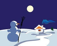 Winter landscape with snowman Stock Photos
