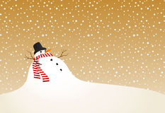 Winter landscape with a snowman in retro style Stock Photography