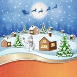Winter landscape with snowman Royalty Free Stock Photo