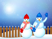 Winter landscape snowmans Royalty Free Stock Photo