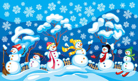 Winter landscape with snowmen. For New Years registration royalty free illustration