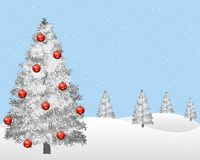 Winter landscape with snowy christmas tree. vector illustration