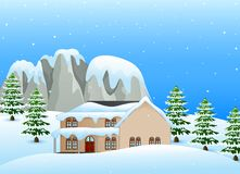 Winter landscape with snowy house and snow covered rocks. Illustration of Winter landscape with snowy house and snow covered rocks Stock Image