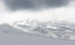 Winter landscape with snowy mountains Royalty Free Stock Photography