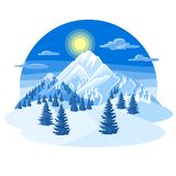 Winter landscape with snowy mountains and fir forest.  Royalty Free Stock Photos
