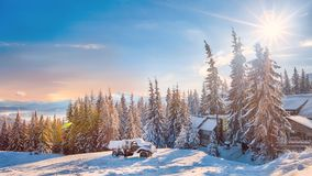 Winter landscape of snowy mountains Royalty Free Stock Photo