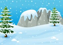 Winter landscape with snowy rocks and fir trees. Illustration of Winter landscape with snowy rocks and fir trees Stock Photos