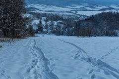 Winter landscape with snowy trees and snowmobile path Stock Image