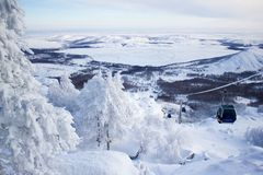 Winter landscape, snowy Ural mountains in cloudy day, Russia royalty free stock photo