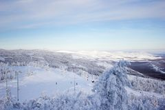 Winter landscape, snowy Ural mountains in cloudy day, Russia royalty free stock photos