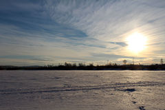 Winter landscape. Soft winter landscape with views of the frozen pond Royalty Free Stock Photography