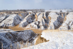 Winter landscape with soil erosion Royalty Free Stock Image