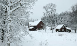 Winter landscape in southern Sweden. Swedish village covered by heavy snow in cloudy day Stock Photos