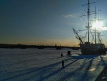 Winter landscape of St. Petersburg stock image