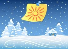 Winter landscape and sticker Royalty Free Stock Image