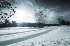 Winter Landscape. Street - Road Covered with Heavy Snow royalty free stock photos