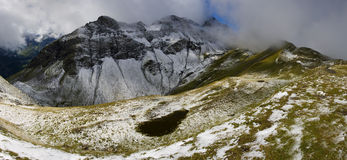 Winter landscape in summer in Swiss alps Stock Photography