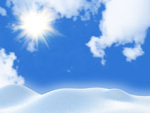 Winter landscape with the sun Royalty Free Stock Photography