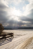 Winter landscape with sun Stock Photos