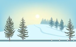 Winter Landscape. Sun Over Snowy Hill, Road And Fir-tree. Royalty Free Stock Photos
