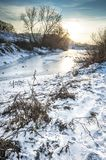Winter landscape with sundown Royalty Free Stock Photo