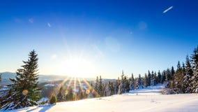 Winter Landscape. Sunrise. stock video footage